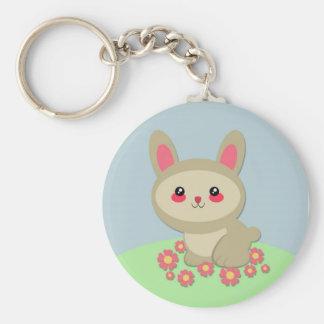 bunny-flowers-button basic round button keychain