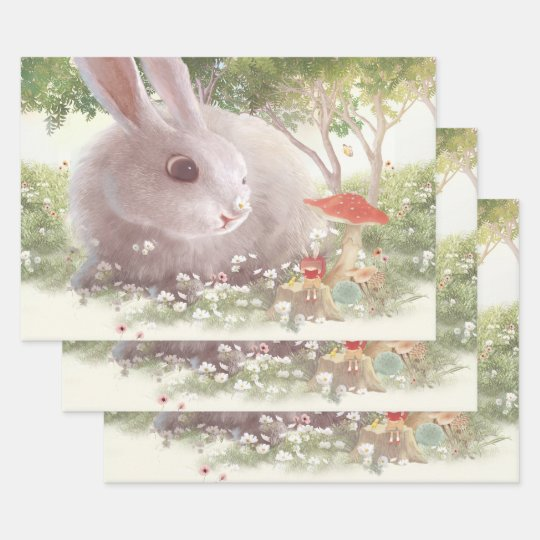 Bunny Flowers Wrapping Paper Sheets