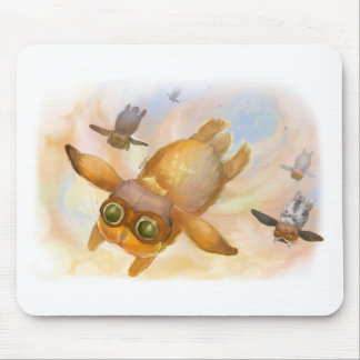 Bunny fly fly fly mouse pad