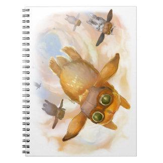 Bunny fly fly fly spiral notebook