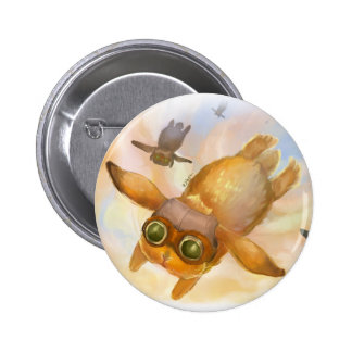 Bunny fly fly fly pinback button