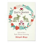 "Bunny Folk Art Winter Neutral Baby Shower Invite 5"" X 7"" Invitation Card"