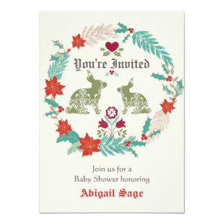 Bunny Folk Art Wreath Winter Neutral Baby Shower 5x7 Paper Invitation Card