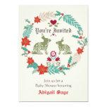 Bunny Folk Art Wreath Winter Neutral Baby Shower Card