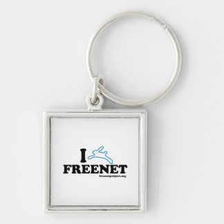 Bunny Freenet Silver-Colored Square Keychain