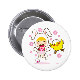 Bunny Girl And Little Chick Button