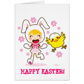 Bunny Girl And Little Chick Card