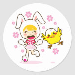 Bunny Girl And Little Chick Classic Round Sticker