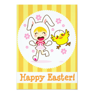 Bunny Girl And Little Chick Invitations