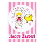 Bunny Girl And Little Chick 5x7 Paper Invitation Card