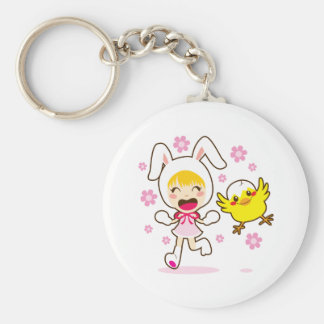 Bunny Girl And Little Chick Keychain