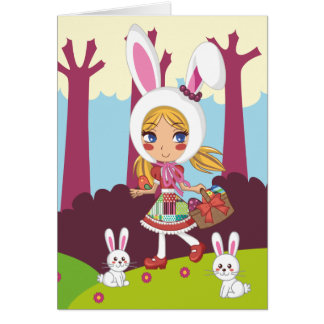 Bunny Girl Stationery Note Card