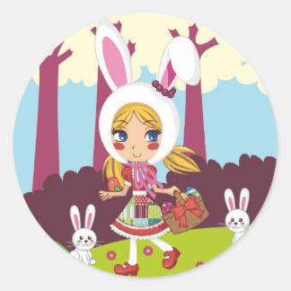 Bunny Girl Round Sticker