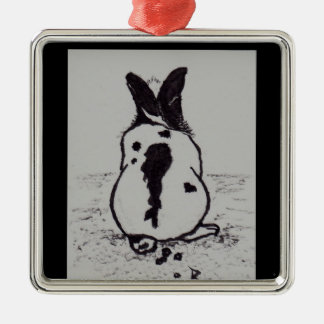 Bunny Go Oops Metal Ornament