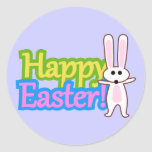 Bunny Happy Easter Design Round Stickers