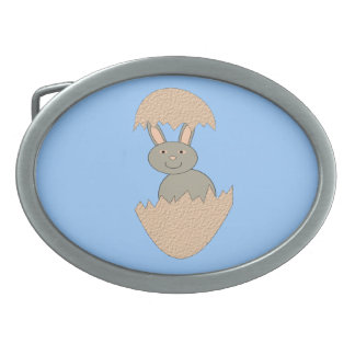 Bunny Hatching from Egg Weird Belt Buckle