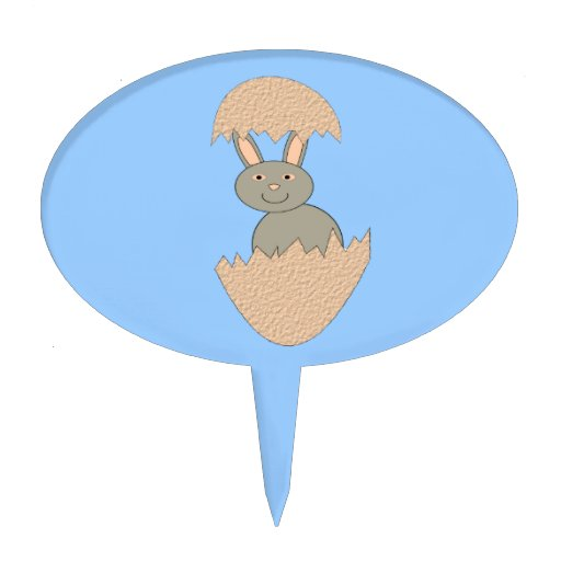 Bunny Hatching from Egg Weird Cake Pick