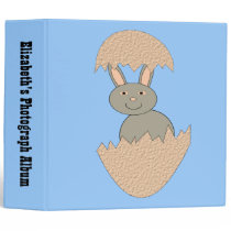 Bunny Hatching from Egg Weird Custom Photo Album 3 Ring Binder