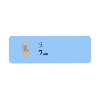 Bunny Hatching from Egg Weird Custom Present Tags Return Address Labels