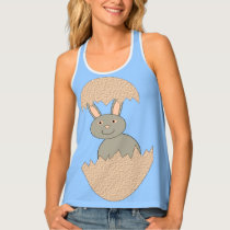 Bunny Hatching from Egg Weird Ladies Tank Top