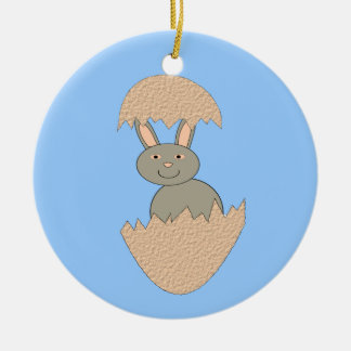 Bunny Hatching from Egg Weird Ornament