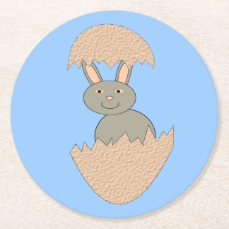 Bunny Hatching from Egg Weird Paper Coasters Round Paper Coaster