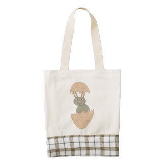 Bunny Hatching from Egg Weird Personalized Tote Zazzle HEART Tote Bag