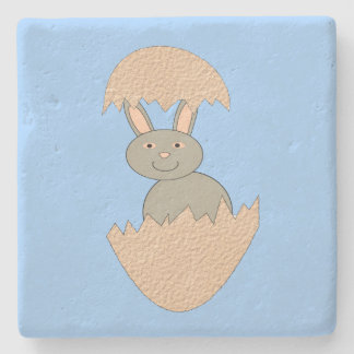 Bunny Hatching from Egg Weird Stone Coaster