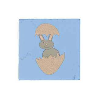 Bunny Hatching from Egg Weird Stone Magnet