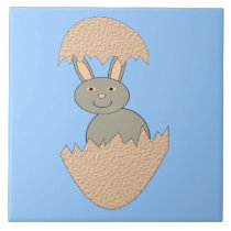 Bunny Hatching from Egg Weird Tile