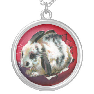 Bunny Hatching from Giant Easter Egg Round Pendant Necklace