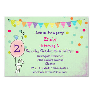 Bunny Holding a Balloon Birthday Party Invite