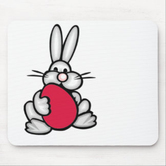 Bunny holding a Crimson Red Egg Mousepad