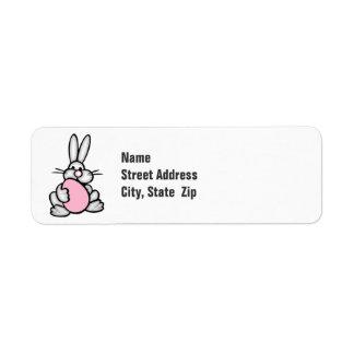 Bunny holding a Light Pink Egg Label
