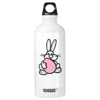 Bunny holding a Light Pink Egg Water Bottle