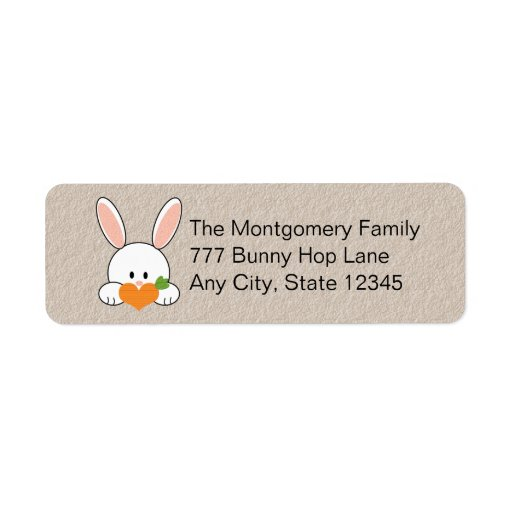 Bunny Holding Carrot Return Address Labels