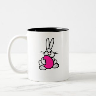 Bunny holding Hot Pink Egg Two-Tone Coffee Mug