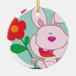 Bunny holds flower Double-Sided ceramic round christmas ornament