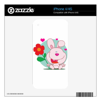 Bunny holds flower decal for iPhone 4