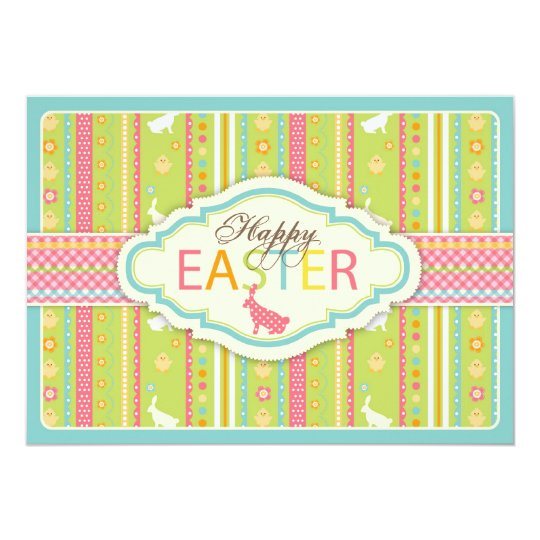 Bunny Hop Invitation Card A7