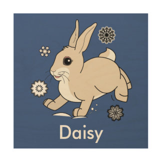 Bunny Hopping Through the Snow Name Customizable Wood Print