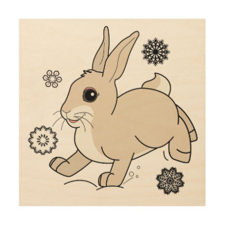 Bunny Hopping Through the Snow Wood Wall Decor
