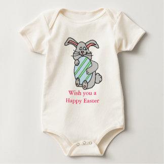Bunny Hugging An Egg Baby Bodysuit