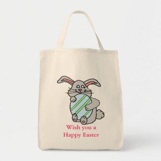 Bunny Hugging An Egg Grocery Tote Bag