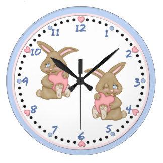 Bunny Hugs Large Clock