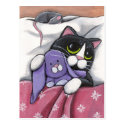 Bunny Hugz | Tuxedo Cat and Toy Bunny Illustration Postcard