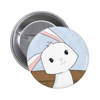 Bunny in a Basket Closeup Easter Button