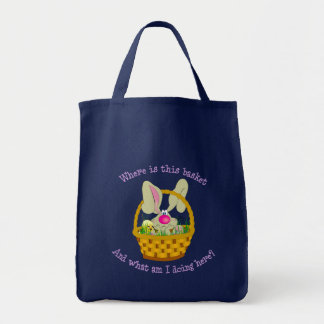 Bunny in a Basket Easter Grocery Tote Bag