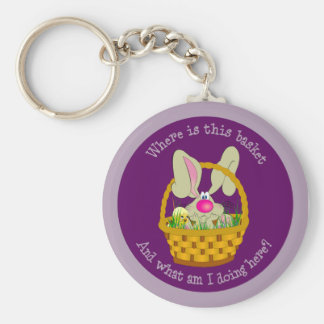 Bunny in a Basket Easter Keychain