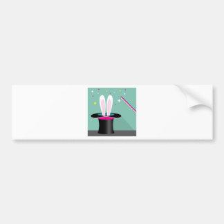 Bunny in a hat magic bumper sticker